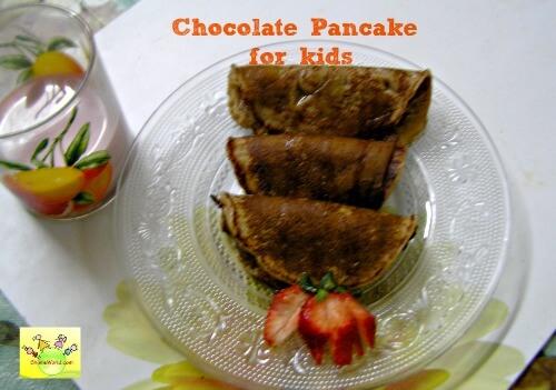 Chocolate pancake for kids