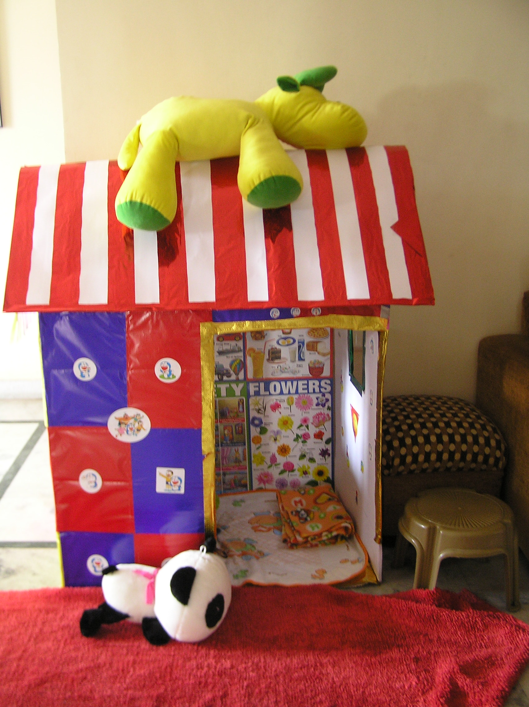 recycled cardboard playhouse for toddlers