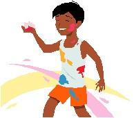 Child playing Holi
