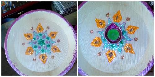 Handmade Rangoli and Diya for Diwali