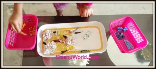 Sorting clips activity for toddler/preschoolers