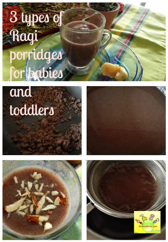 3 types of Ragi/nachni porridge