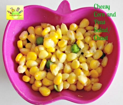 Cheesy corn and peas chaat