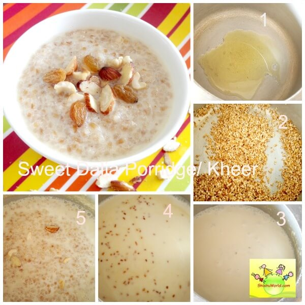 sweet broken wheat/ dalia recipe for babies, toddlers
