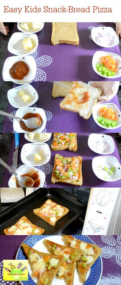 Quick and healthy kids snack - bread pizza