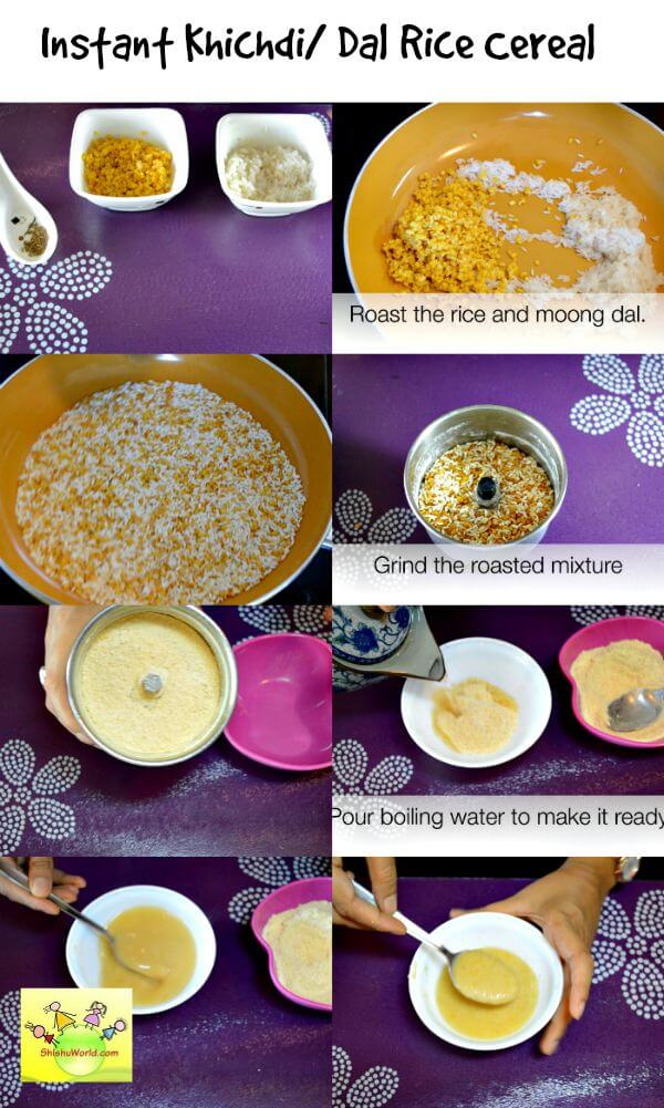 Homemade dal rice cereal for babies