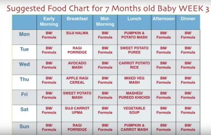 7 month baby food chart - week 3