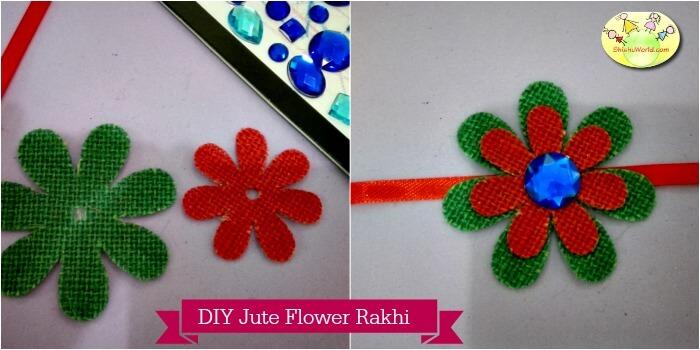 Handmade Jute flower crystal Rakhi