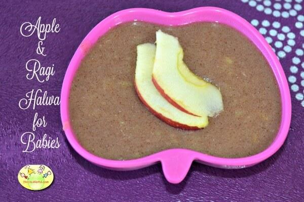 Apple Ragi halwa for babies- homemade baby food