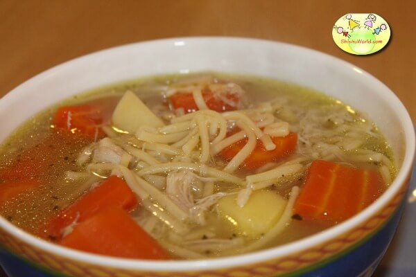 Chicken soup- protein rich food for kids