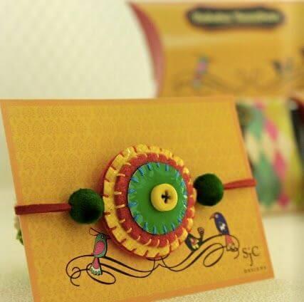 DIY felt and button rakhi