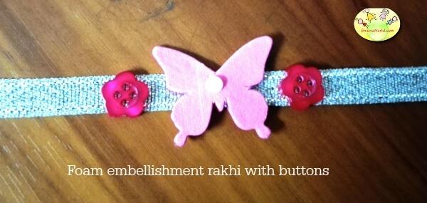 Handmade Foam Button Butterfly Rakhi
