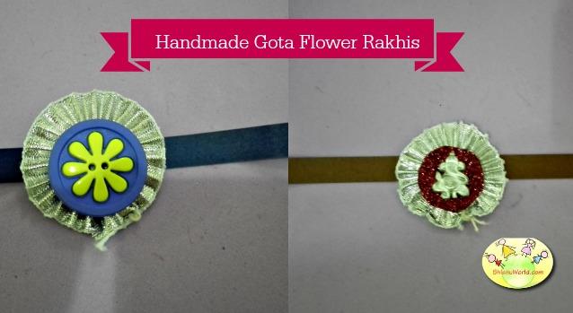 Handmade Gota Flower Rakhi/ Recycled rakhi