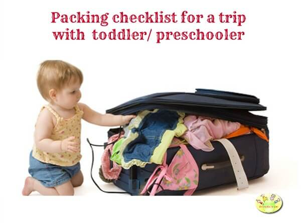 Packing checklist for a trip with your toddler/ preschooler