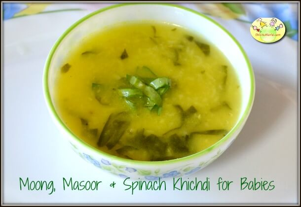 Moong, Masoor & Spinach Khichdi for Babies