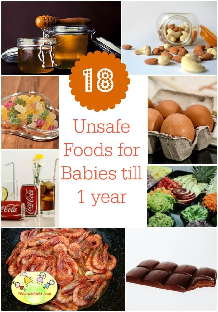 Unsafe foods for baby till 1 year